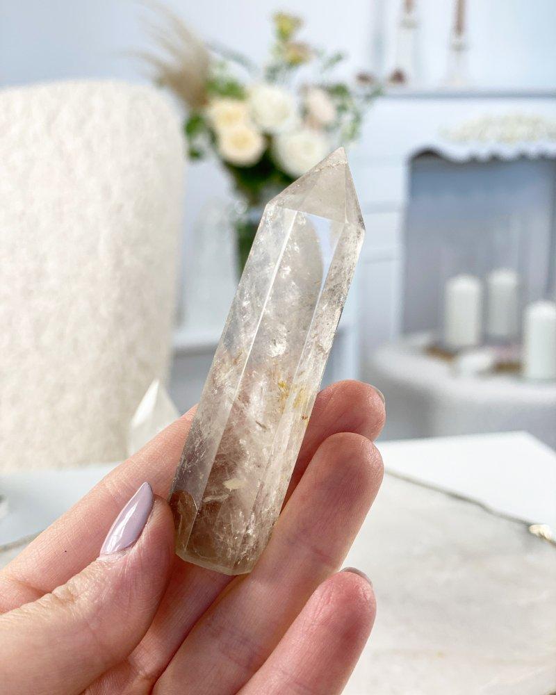 Polodrahokam obelisk záhněda leštěná špice