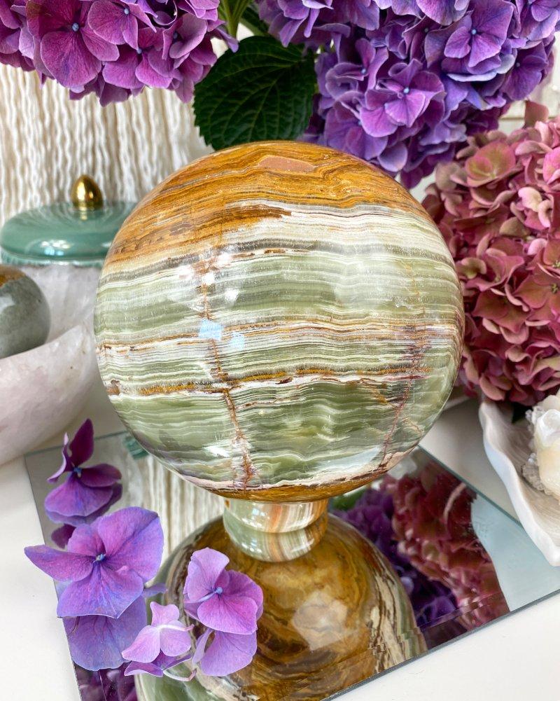 Luxusní velká leštěná koule z onyxu 5kg Pákistán