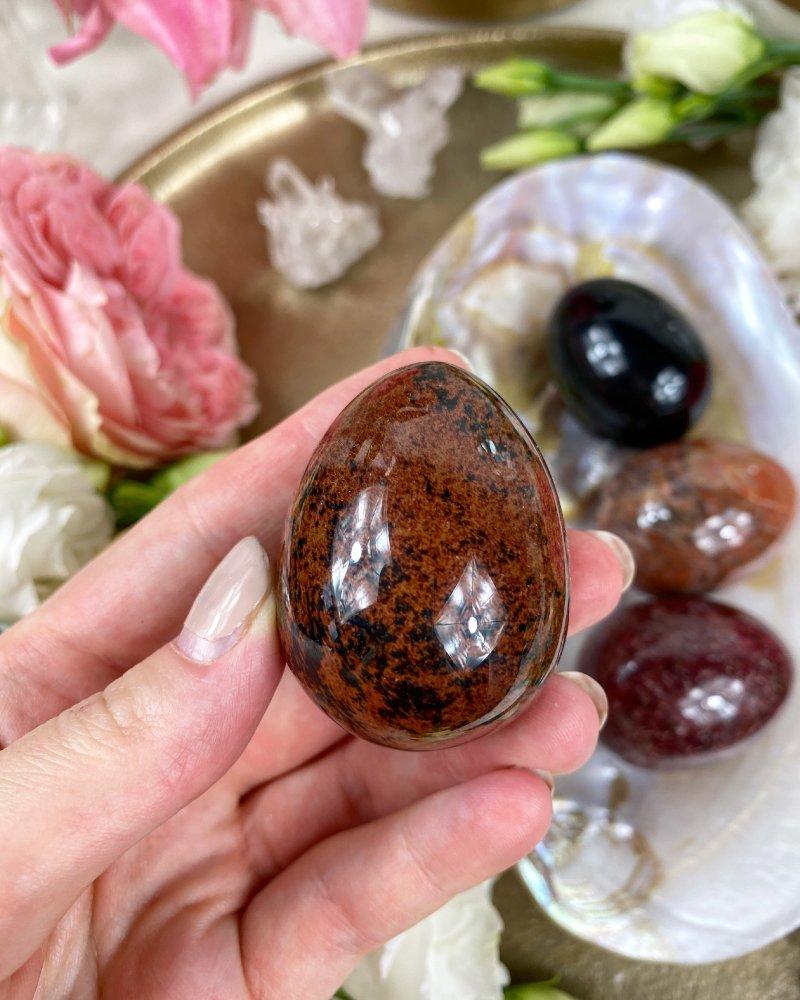 Yoni vajíčko z polodrahokamu červený obsidián mahagon