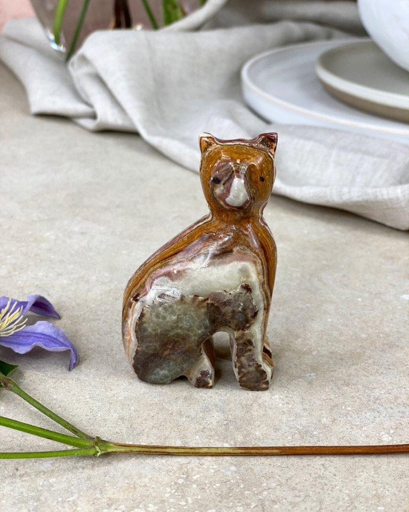 Broušená figurka onyx kočička Pákistán