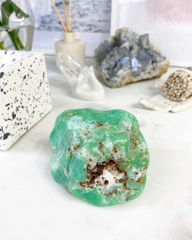 Minerál chryzopras tromlovaný Tanzánie 377g