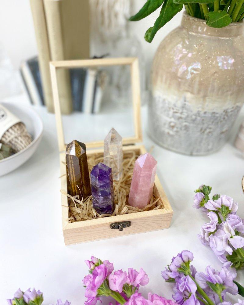 Dárkový set špicí v dřevěné krabičce