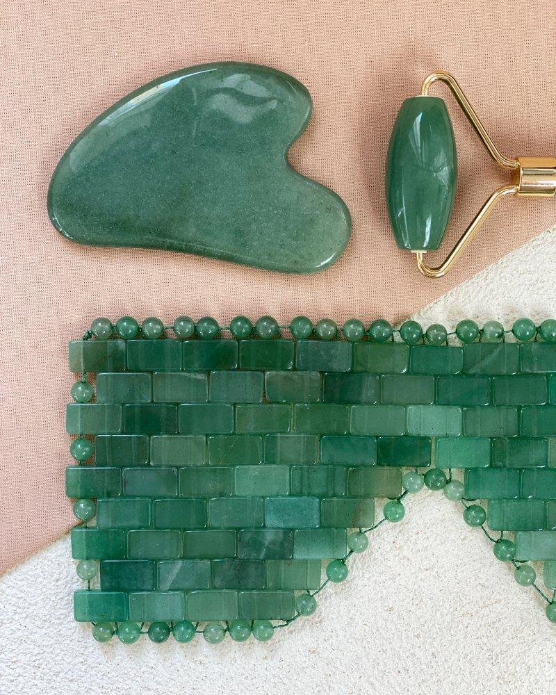 Dárkový masážní set roller, gua sha a maska z jadeitu zeleného