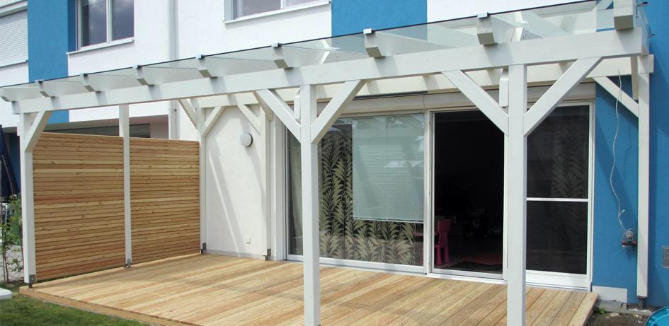 Pergola KVH hranoly s prosklenou střechou