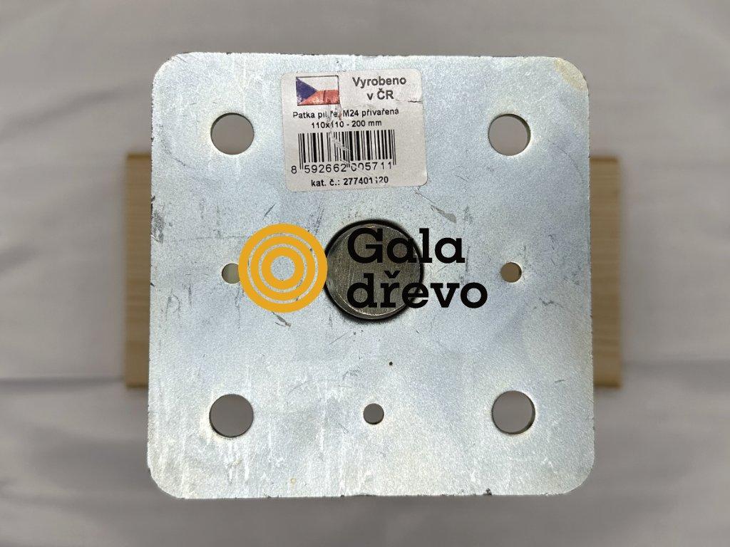 2020 05 02 19 56 05 patka pilíře s maticí přivařenou, 110x110 M24x200, galvanický zinek HPM TEC,