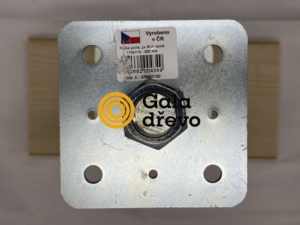 2020 05 02 19 55 24 patka pilíře s 2 maticemi volně, 110x110 M24x200, galvanický zinek HPM TEC,
