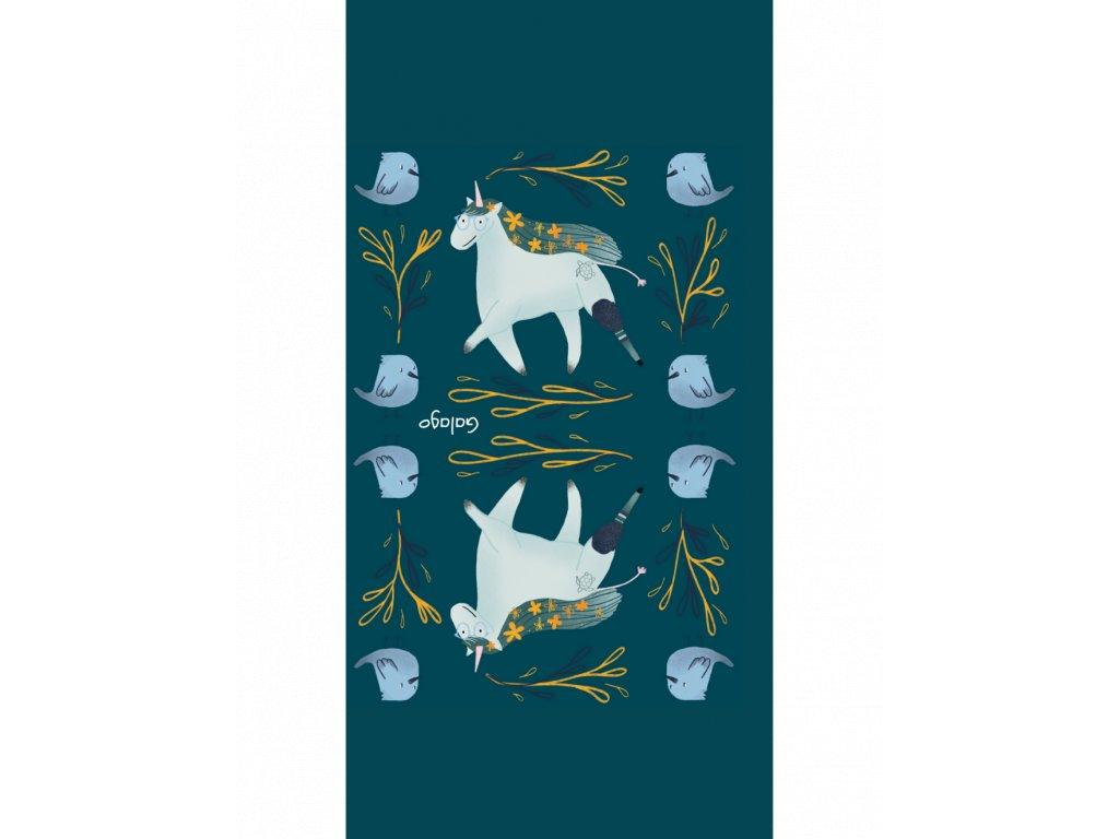 Nákrčník zateplený s ilustracemi od Natsleepwalker Jednorožec zelená