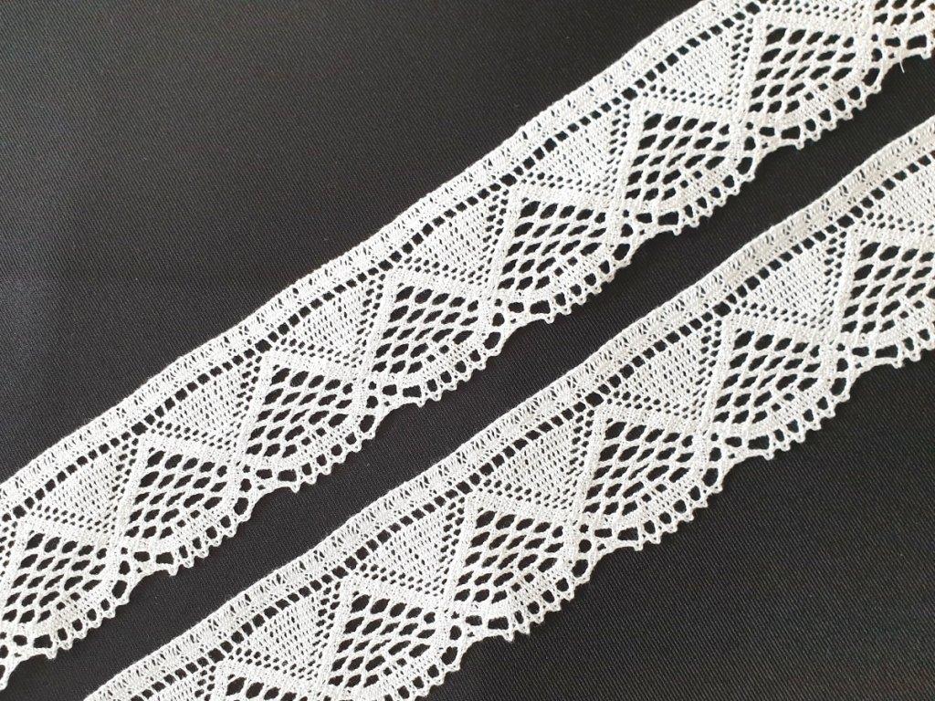 Bavlněná krajka paličkovaná 55 mm - bílá