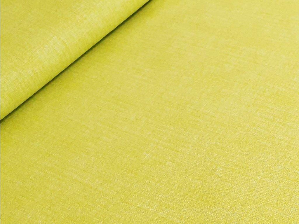 Bavlněné plátno - Lněný efekt žlutozelená
