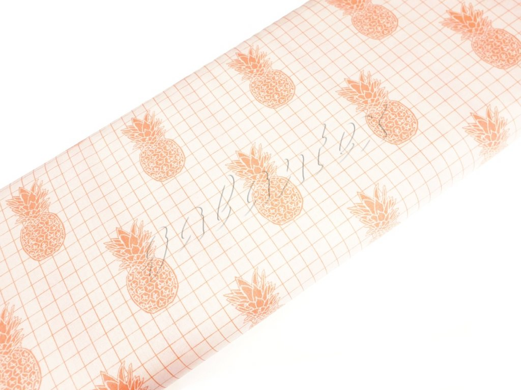 Bavlněné plátno - Meruňkové ananasy na krémově bílé
