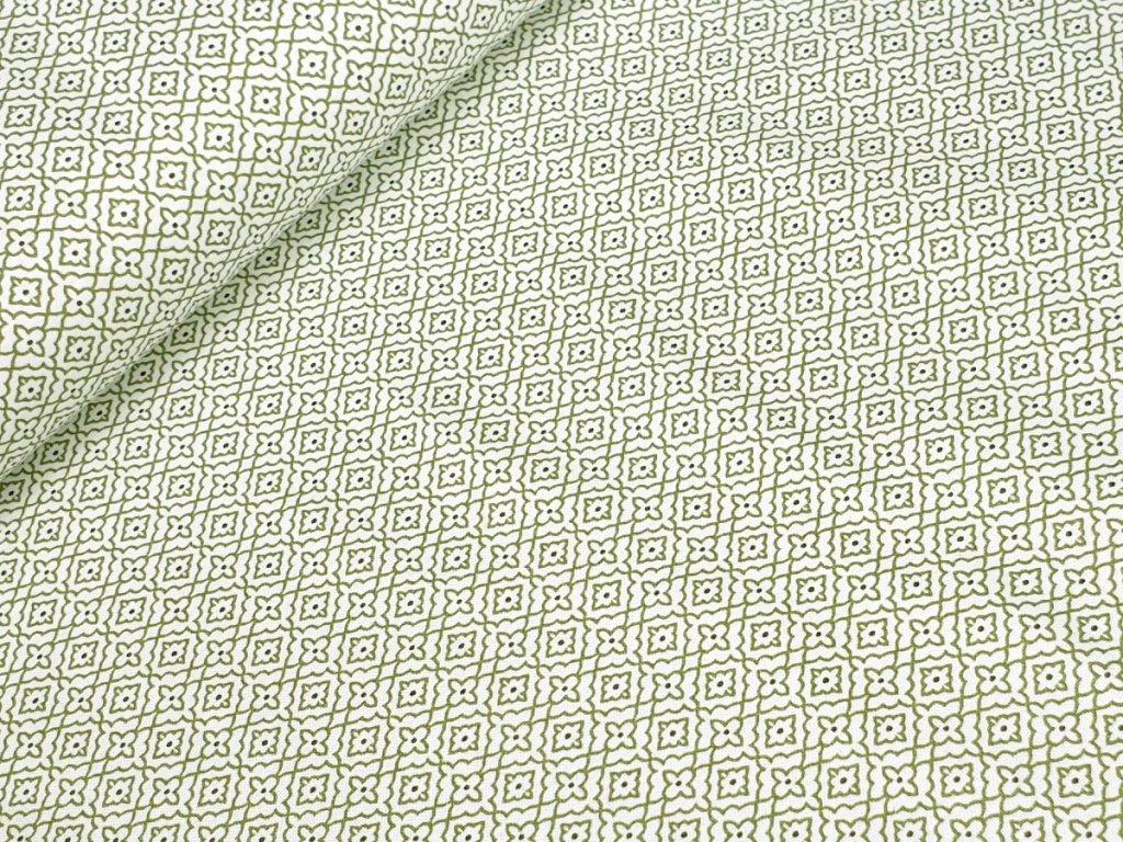 Bavlněné plátno - Ornamenty zelené na krémově bílé