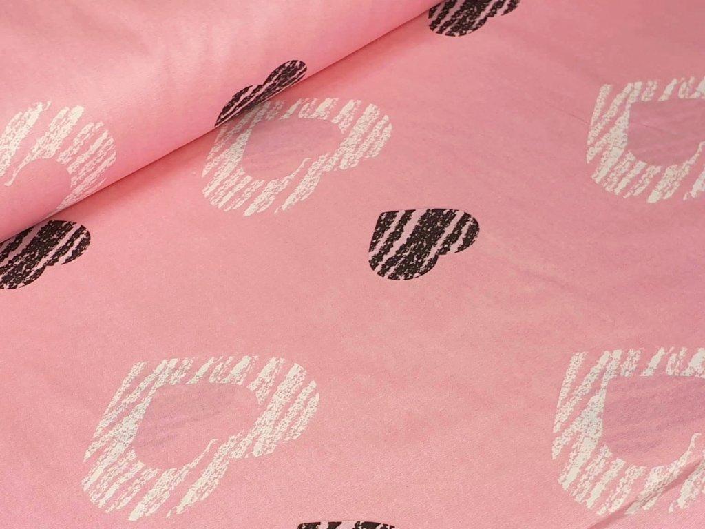 Bavlněné plátno - Srdce velké na růžové