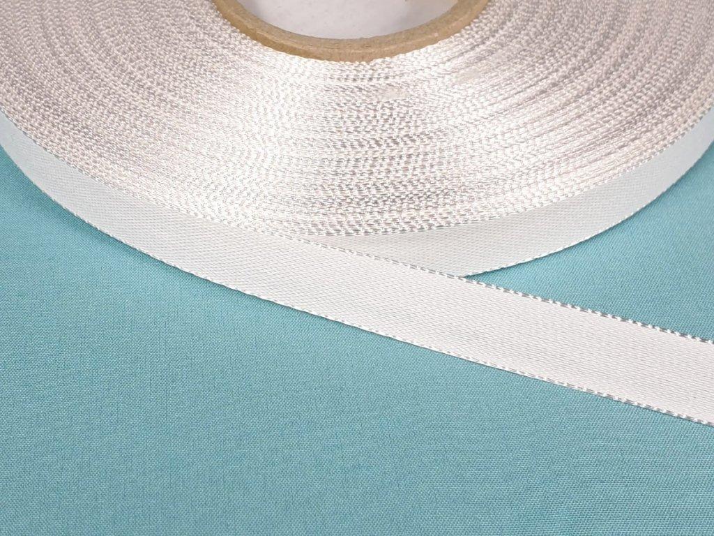 Plátnová stuha záčistková 12 mm - bílá