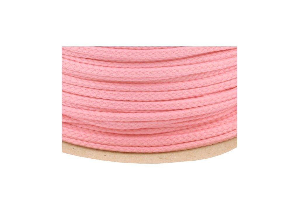 Oděvní šňůra PES 4 mm - růžová světlá