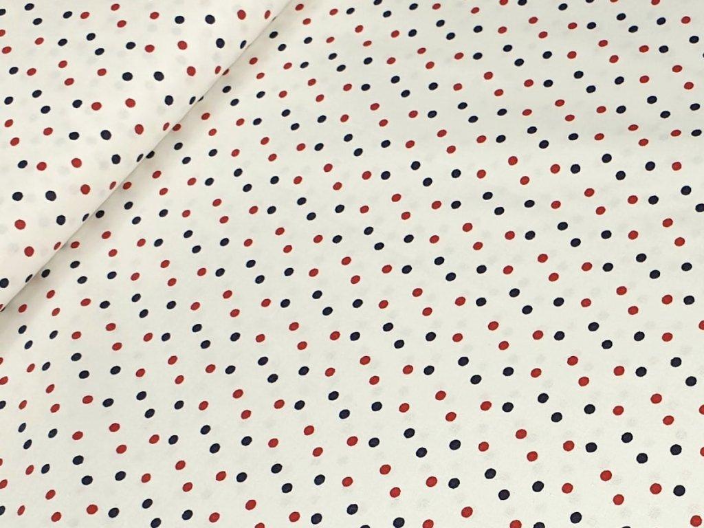 Bavlněné plátno - Puntíky modré a červené na krémově bílé