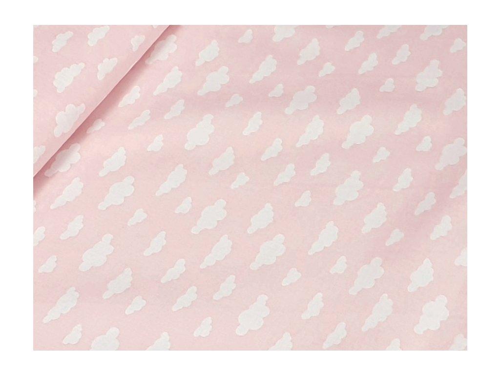 Bavlněné plátno - mráčky mini na sv. růžové