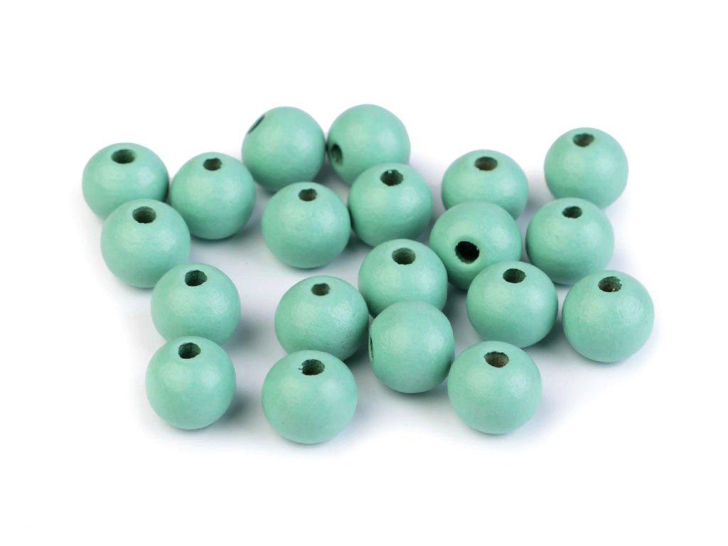 Korálky dřevěné kulička 10 mm (30 kusů) - tm. mentolové