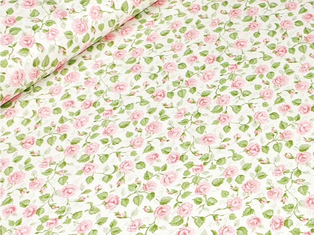 Bavlněné plátno - Růžičky na krémově bílé