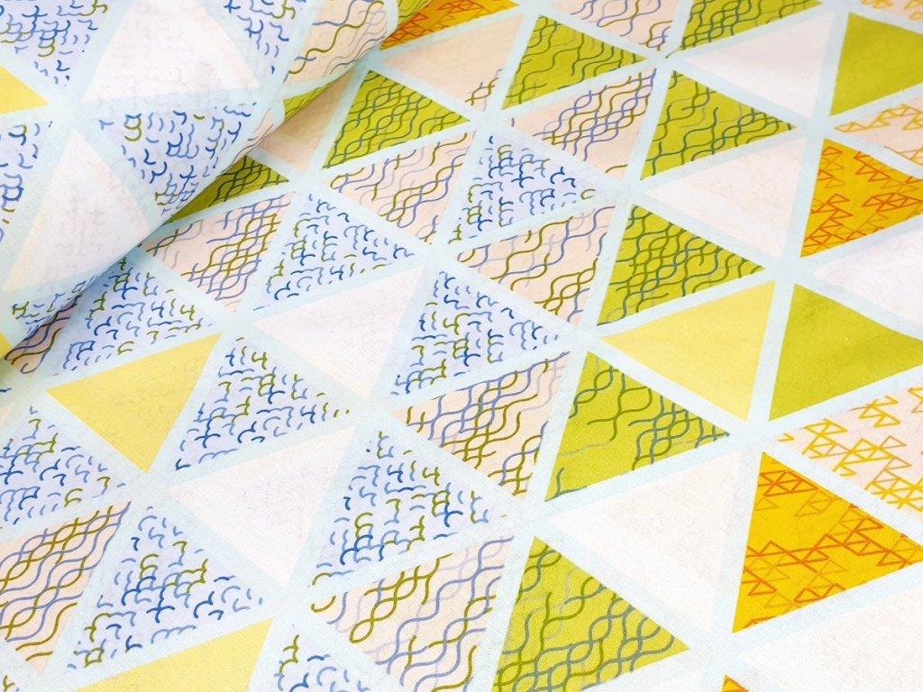 Bavlněné plátno - Barevné trojúhelníky