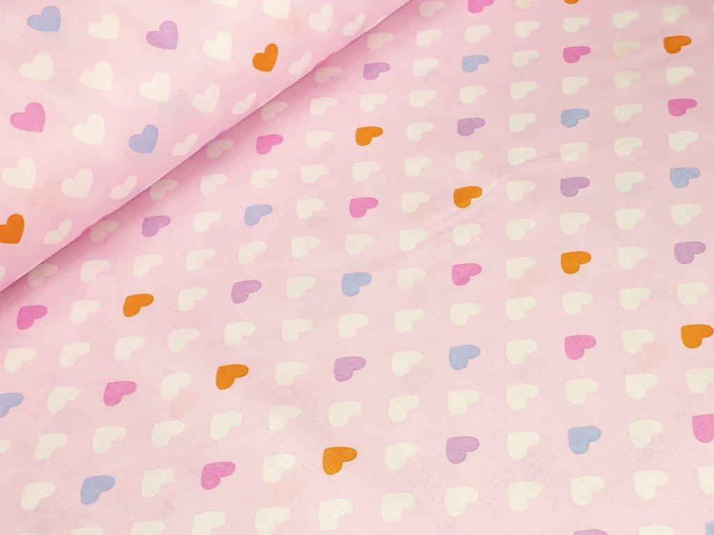 Bavlněné plátno - Srdíčka na růžové