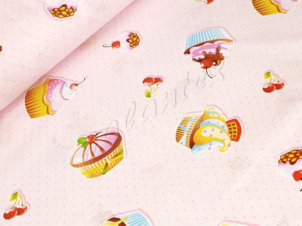 Bavlněné plátno - Muffiny na růžovém puntíku