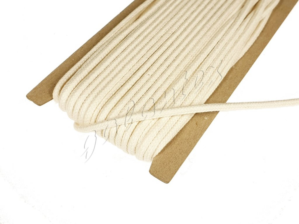 Oděvní šňůra / knot bavlněný 4 mm - režná