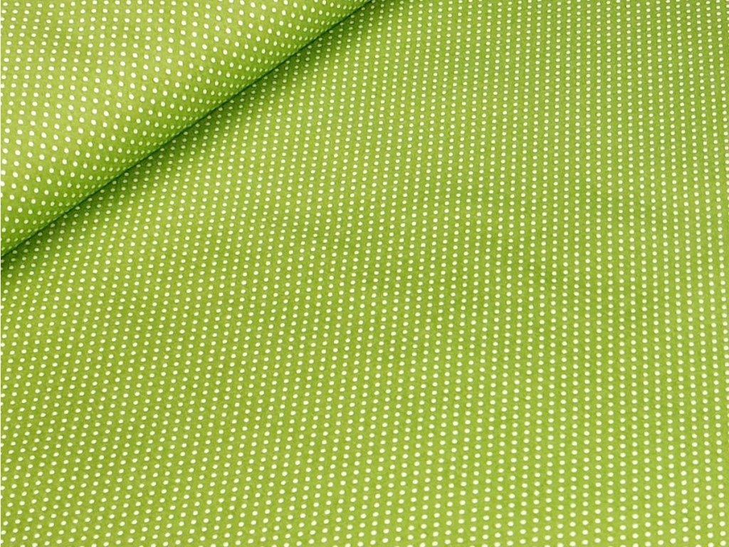 Bavlněné plátno - Puntík 2 mm na hráškově zelené