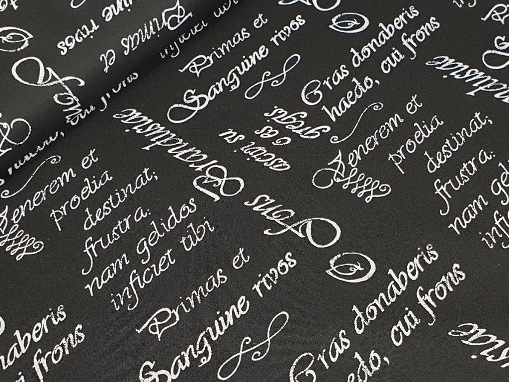 Bavlněné plátno - Písmo bílé na černé