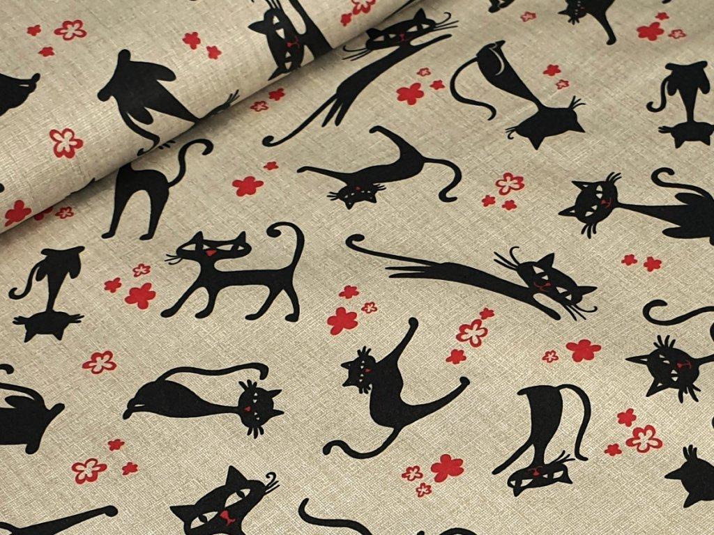 Bavlněné plátno - Kočky na režném béžovém efektu