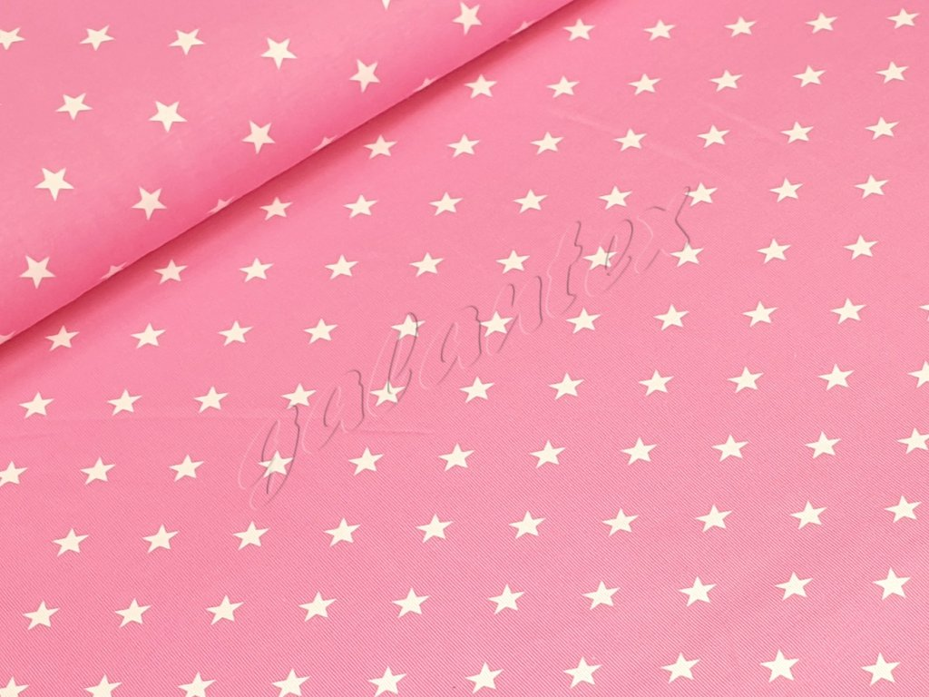Jednolícní elastický úplet - Hvězdičky na růžové