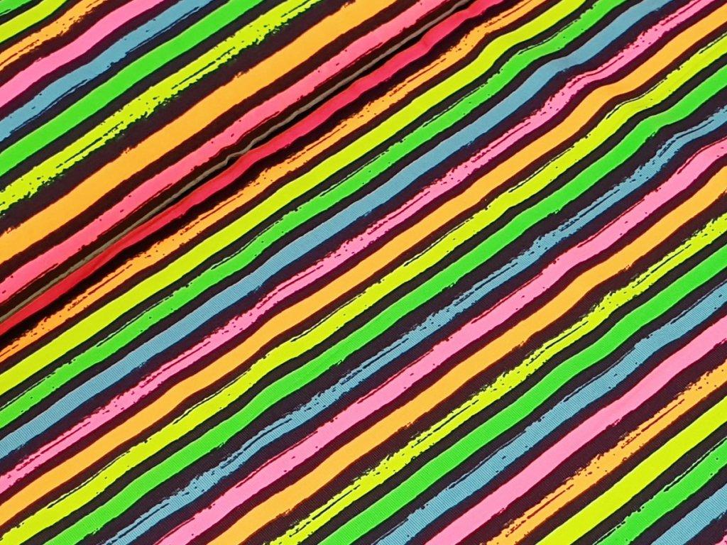 Jednolícní elastický úplet - Neon pruhy
