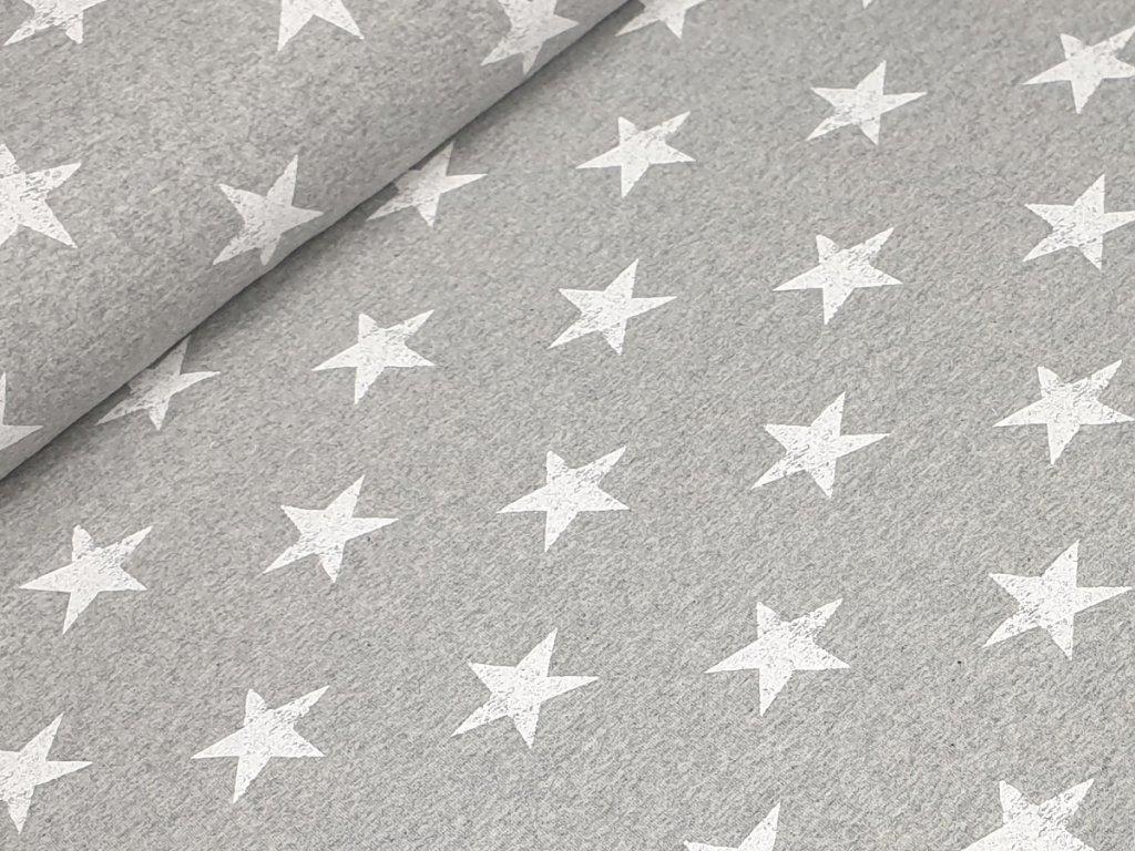 Elastická teplákovina - Hvězdy na sv. šedém melíru
