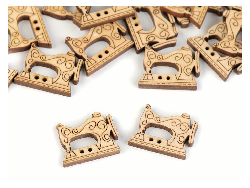 Knoflík dřevěný - Šicí stroj