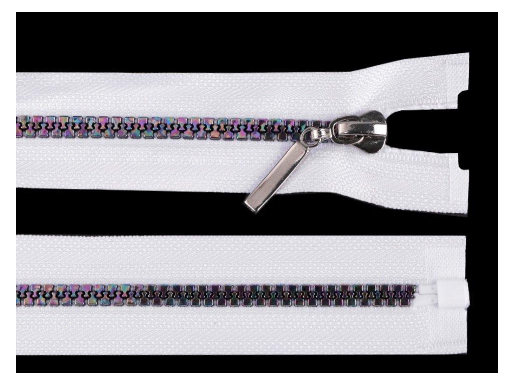 Zip kostěný dělitelný duhový 5 mm / 60 cm - bílý