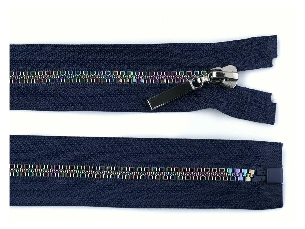 Zip kostěný dělitelný duhový 5 mm / 60 cm - tm. modrý