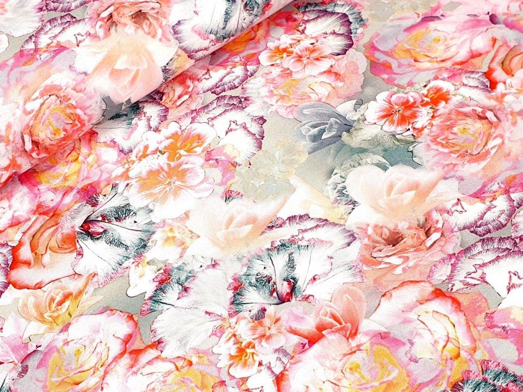 Jednolícní elastický úplet - Květy na šedozelené (digitální tisk)