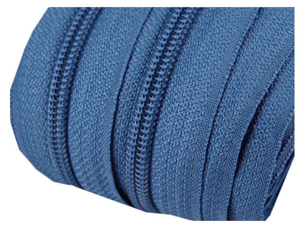 Zip spirálový 5 mm metráž - modrá