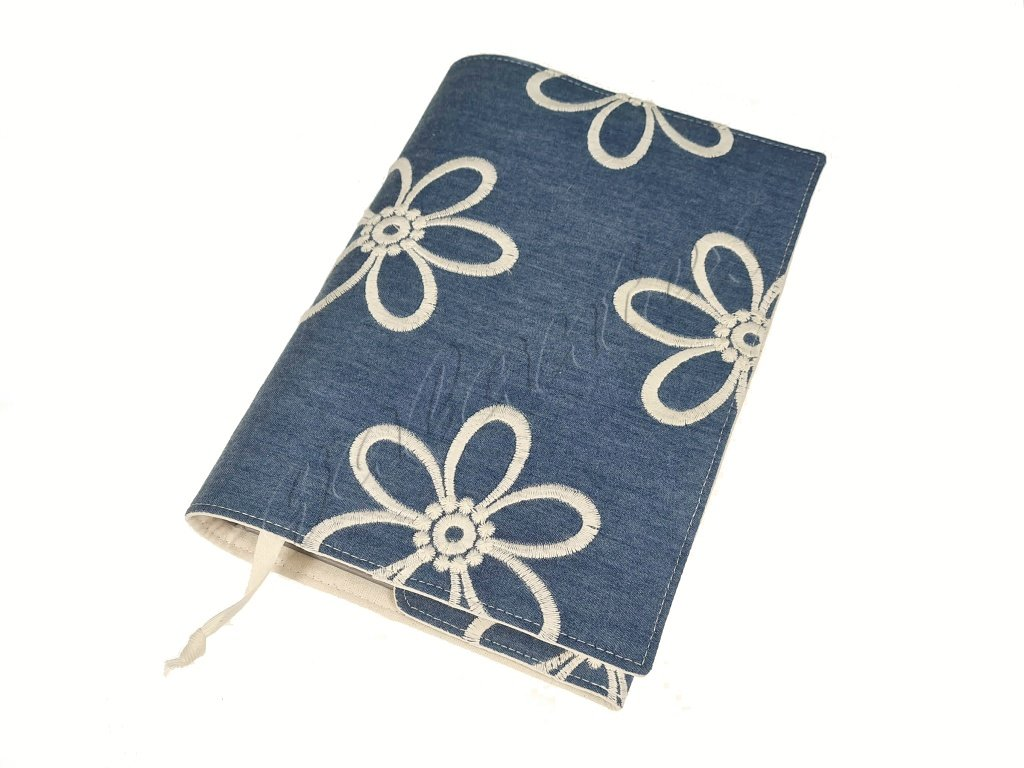 Nastavitelný obal na knihu - Jeans s vyšitými květy
