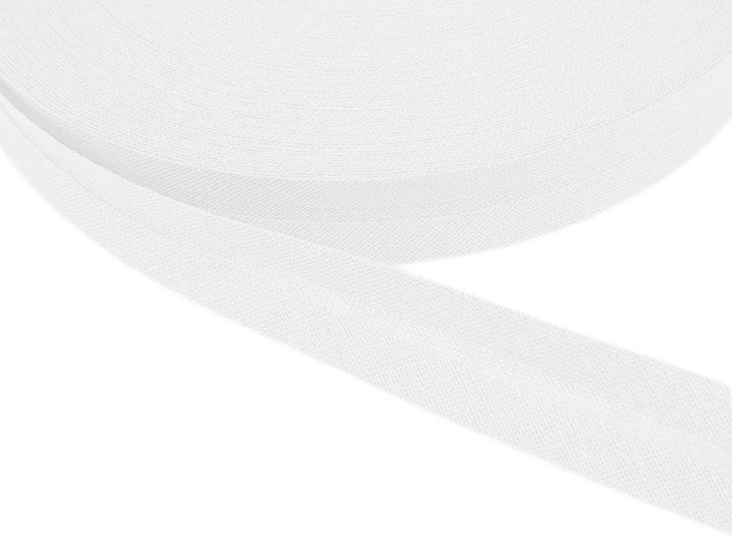 Šikmý proužek bavlněný šíře 20 mm - bílá