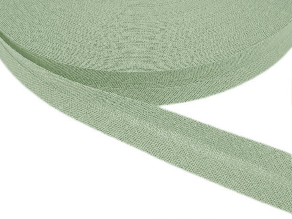 Šikmý proužek bavlněný šíře 20 mm - zelenošedá