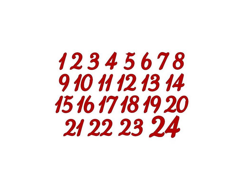 Nažehlovací potisk - adventní čísla 3 cm