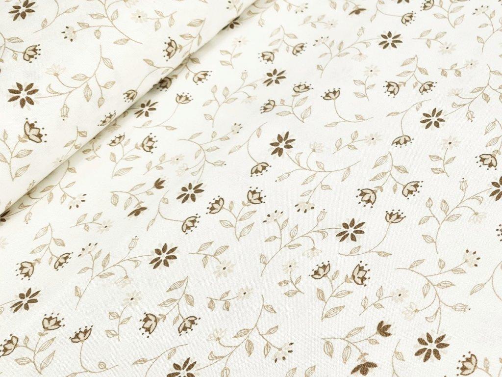 Bavlněné plátno - Hnědé kytičky na krémově bílé