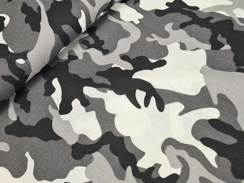 Bavlněné plátno - Maskáč šedý