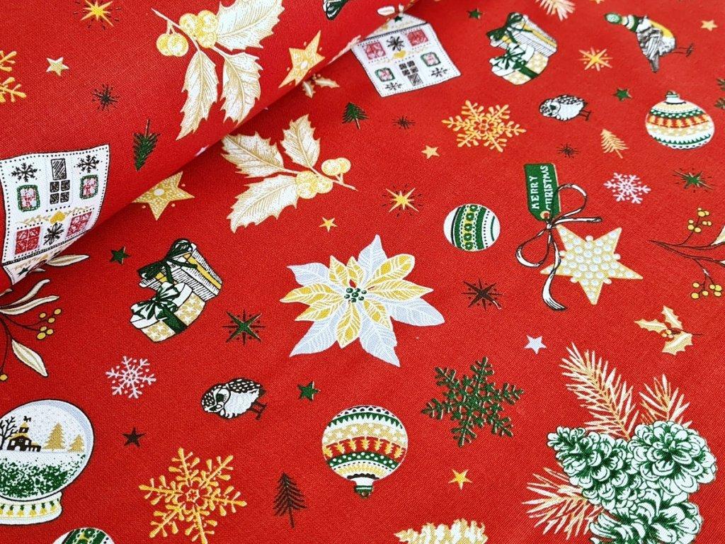 Bavlněné plátno - Vánoční motivy na červené (digitální tisk)