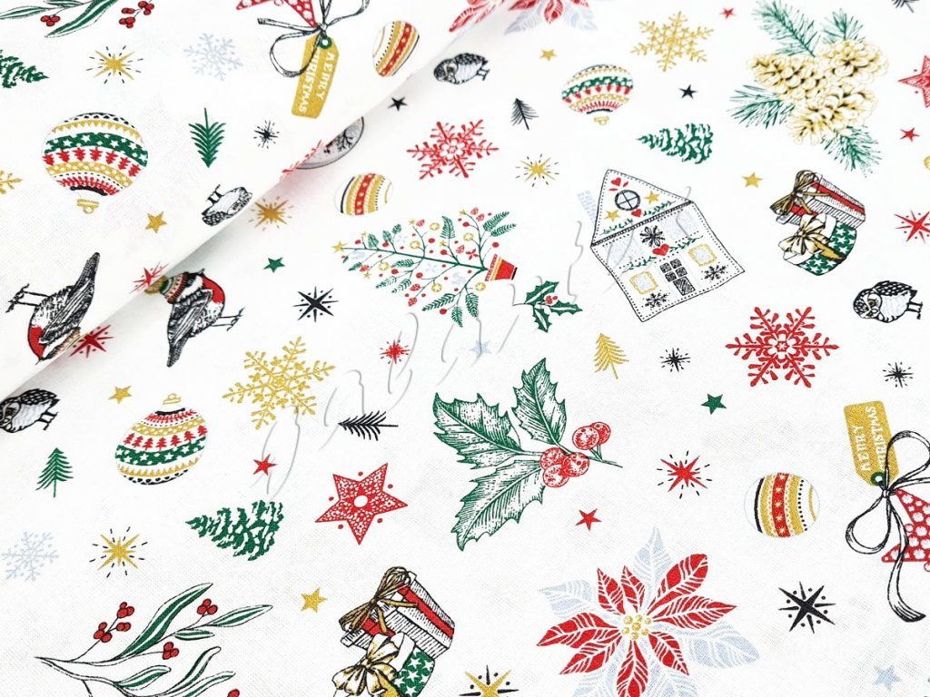 Bavlněné plátno - Vánoční motivy na bílé (digitální tisk)