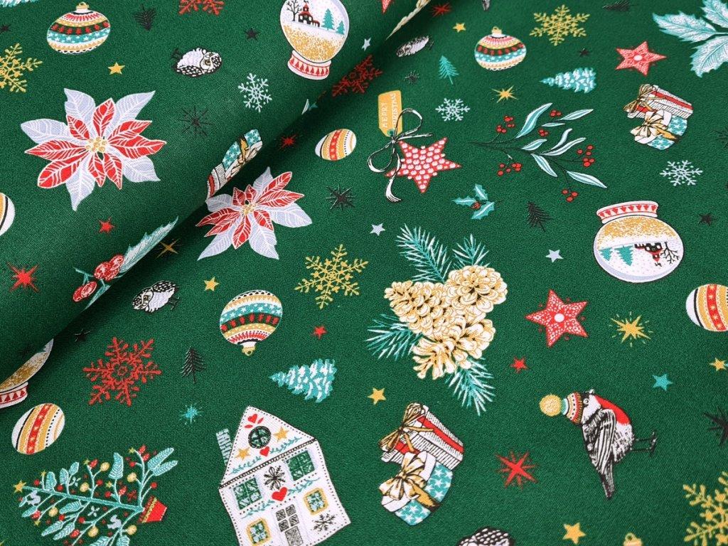 Bavlněné plátno - Vánoční motivy na zelené (digitální tisk)