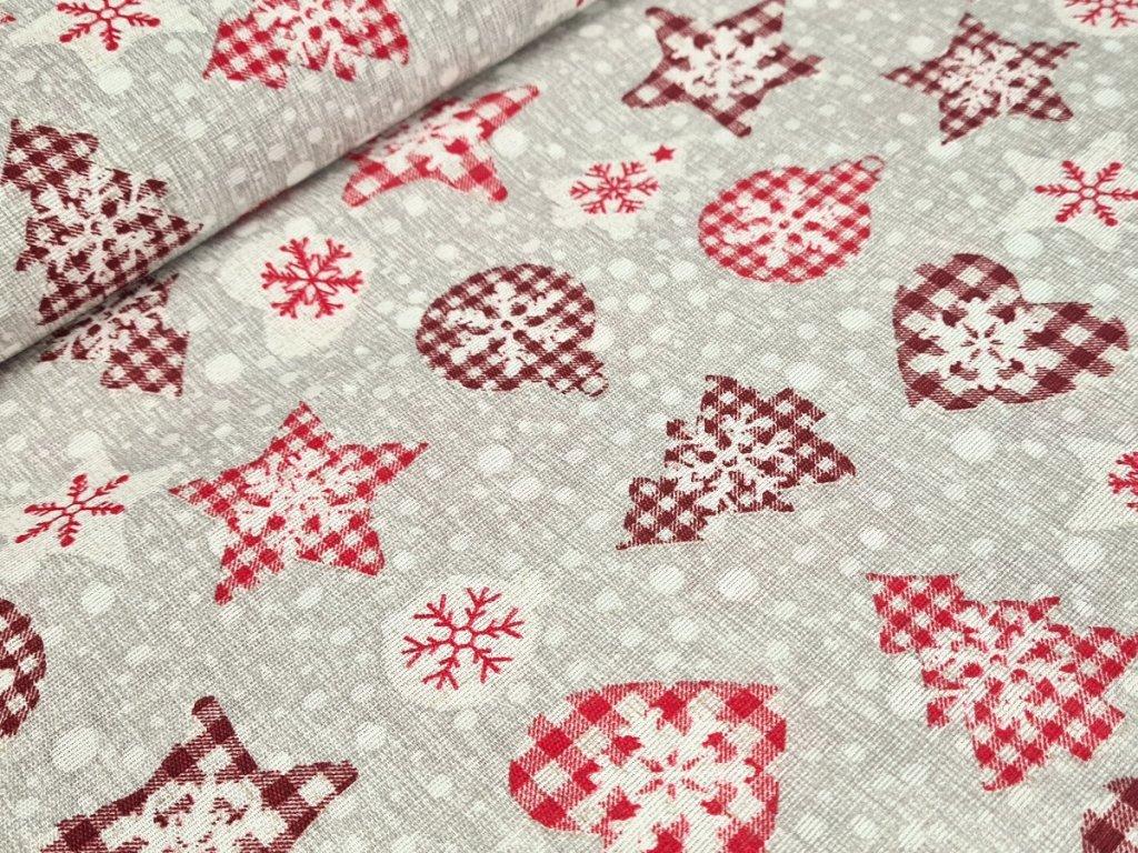 Dekorační látka - Vánoční ozdoby na šedobéžové
