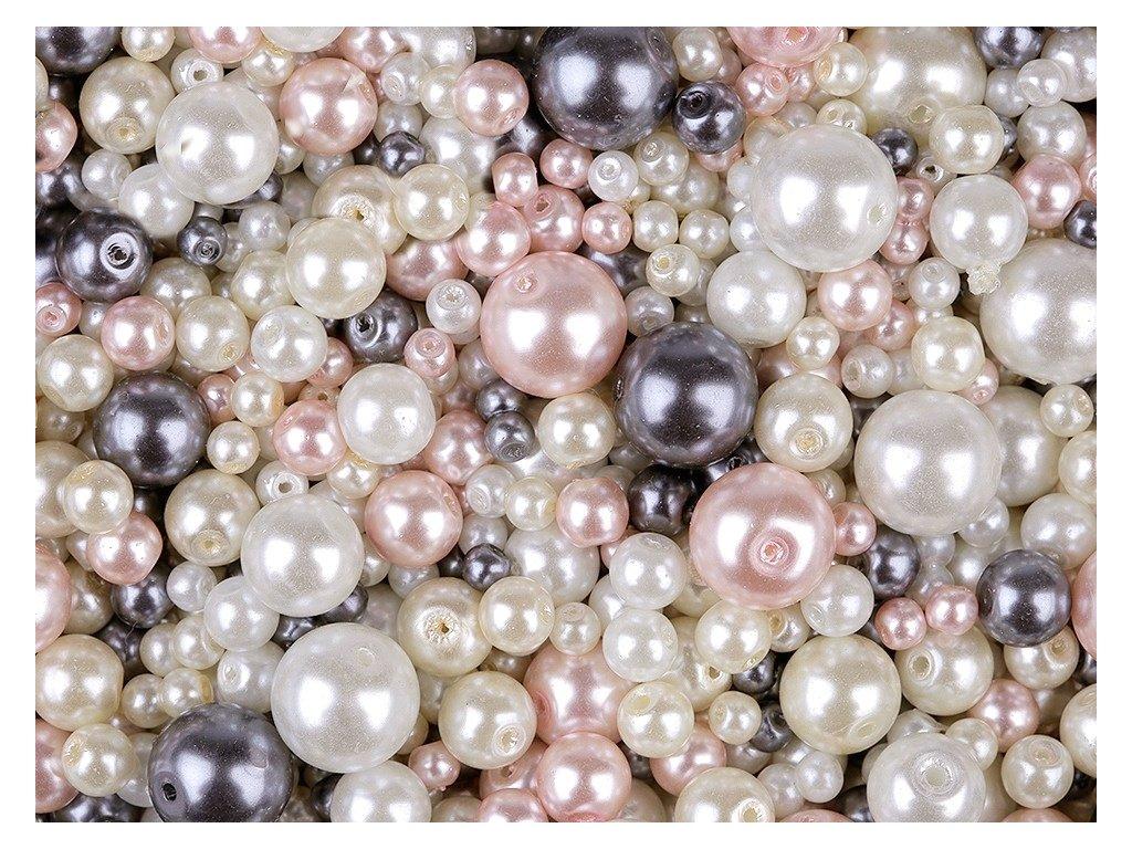 Voskované perly 4-12mm různobarevný mix 100g