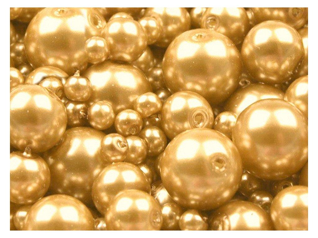 Voskované perly 4-12 mm kulička (30g) - zlatá