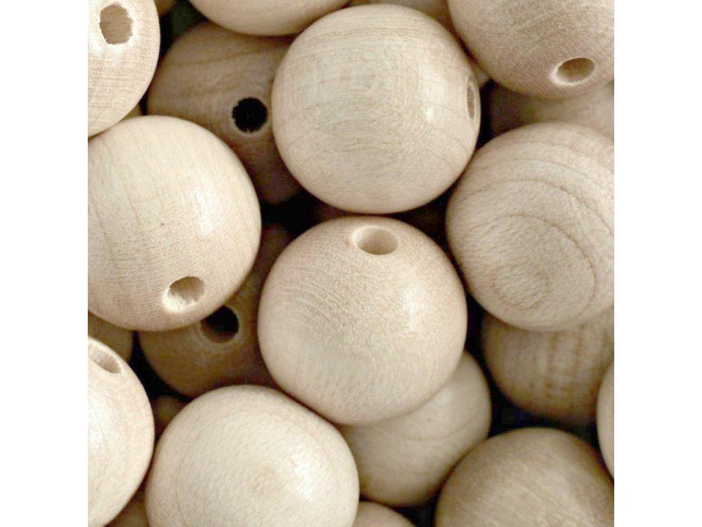 koralky drevene prirodni vel 18mm
